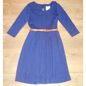MODCLOTH Belted Textured Navy Knit Dress XS